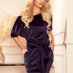 249-5 CASSIE – velvet dress with short sleeves – dark blue