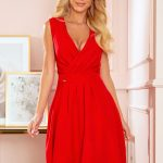 338-1 ELENA elegant dress with a neckline and pleats – red